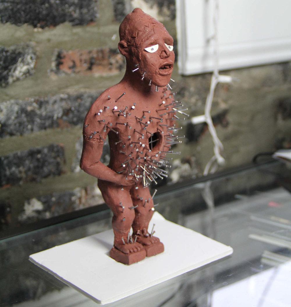Clay replica of Power Figure (Nkisi N'Kondi: Mangaaka)