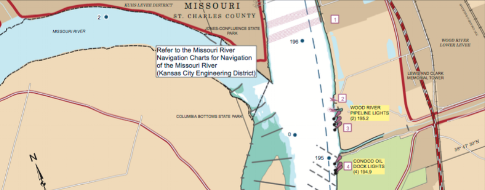 US Army Corps of Engineers Map of last three miles on the Missouri River to the Confluence.