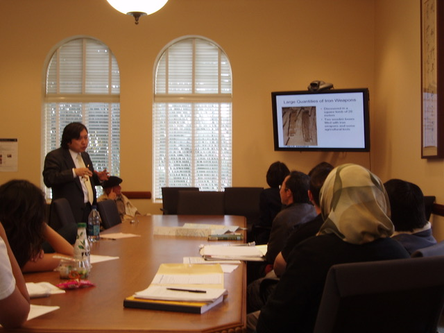Professor Sasaki presents on iron weapons founds in Japanese burial mounds.