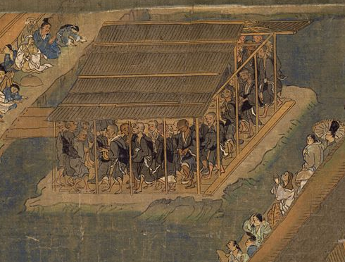 The monks are not brawling in this picture: a snapshot of Kamakura Period circumambulating monks in the  Ippen hijiri e  ( Creative Commons ).