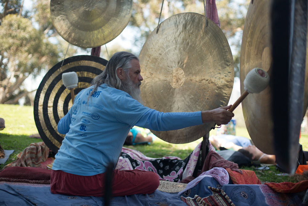 GONG SOUND IMMERSION*     Breakout Session 1 & 2 with    Ken Goff   Indulge in a guided relaxation and sound immersion using the potent and healing sound of gongs.  The gong bath gently immerses us in soothing and supportive gong vibrations as Ken cultivates a relaxing atmosphere for mind, body, and spirit.