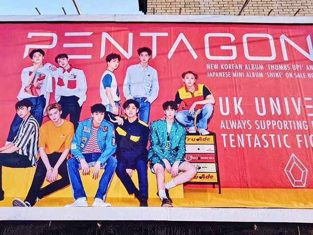 There's a Pentagon billboard in London! You can find it for the next two weeks at East India Dock Road, Tower Hamlets, London! . . . . . #pentagon #kpop #hyuna #edawn #tripleh #hui #jinho #hongseok #shinwon #yeoone #yuto #kino #wooseok #yanan #pentagonshine #universe #kmusic #ukskagency #cubeentertainment #kpopshoutout #kpopnews #kpoplondon