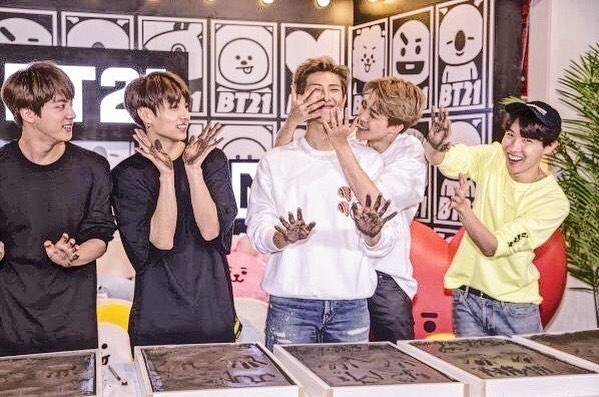 """BTS just visited the """"Line Friends"""" pop-up store in Los Angeles and did a hand printing event. The member's hand prints will be displayed at the LA pop-up store. . . .  #bts #linefriends #korea #music #famous #singers #hands #handprints #popup #popupstore #store #kpop #jungkook #jimin #army #suga #v #jin  #bangtanboys #rm #momoland #kimtaehyung #follow #minyoongi #parkjimin #kmusic #zutter"""