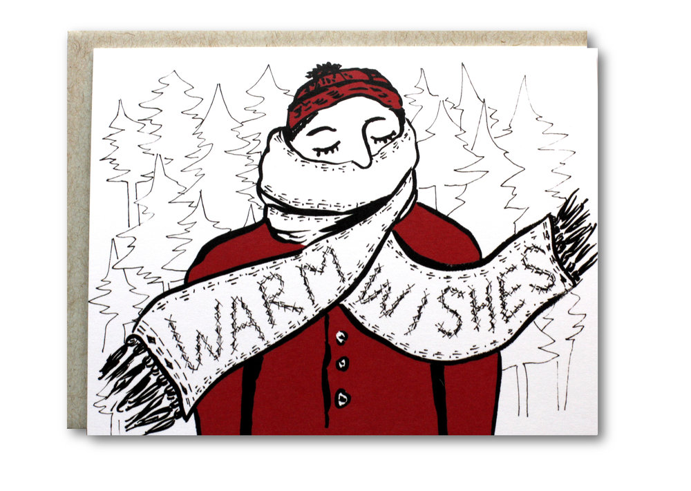 Warm Wishes Coat Card - $5.00