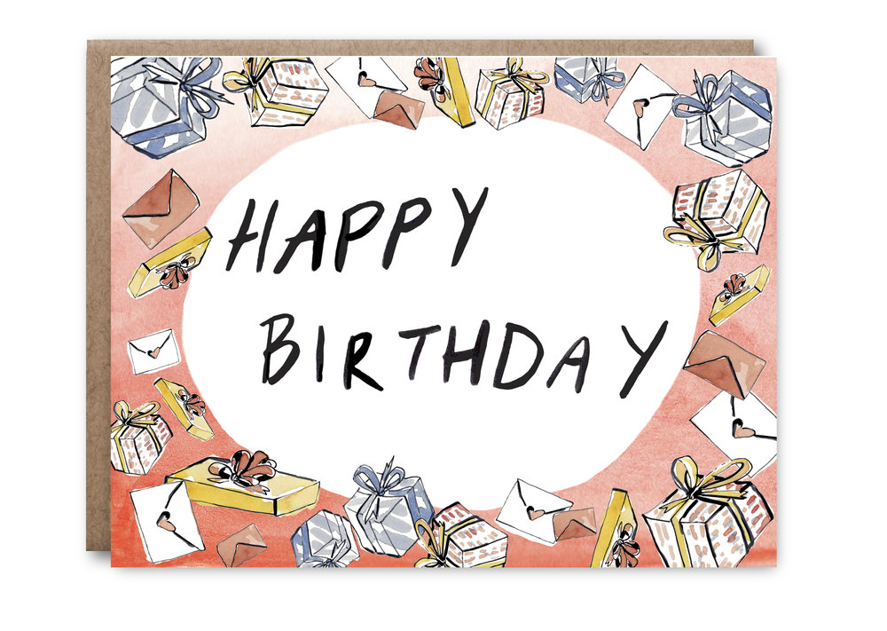 Happy Birthday Presents Card in Pink - $5.00