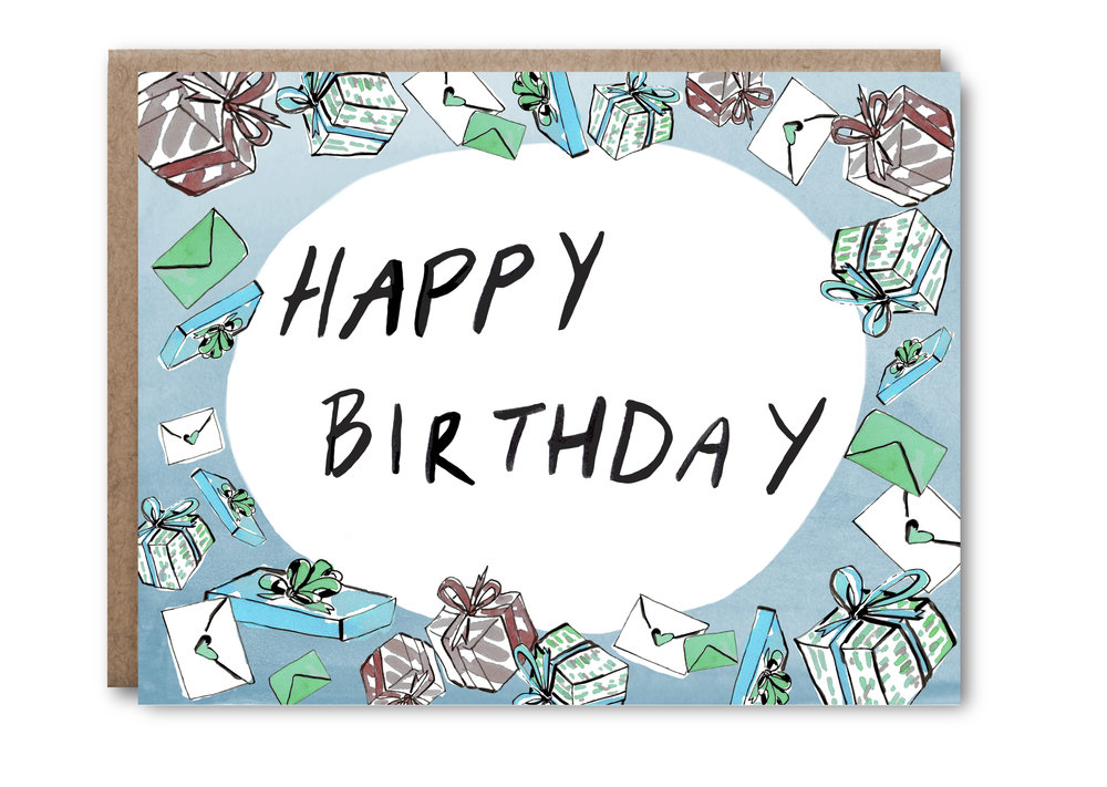 Happy Birthday Presents Card in blue - $5.00