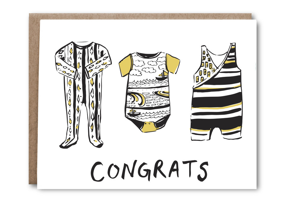 Baby Clothes Congrats Card - $5.00