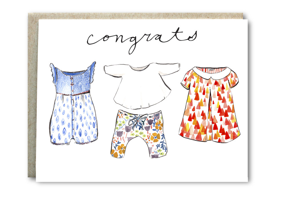Baby Watercolor Clothes Congrats Card - $5.00