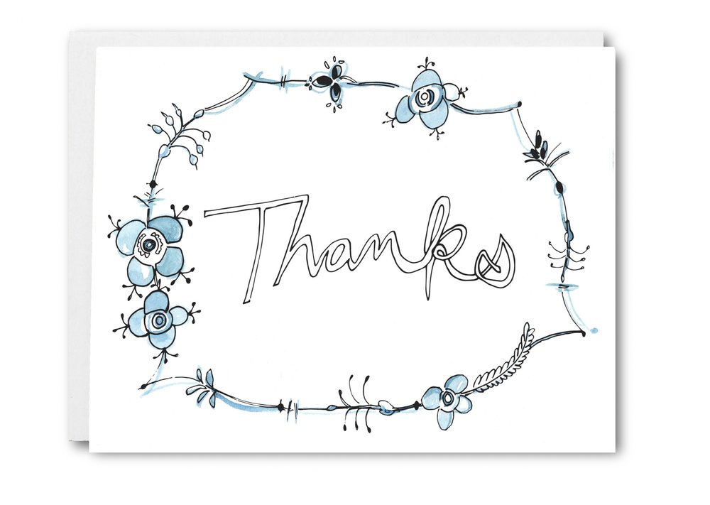 Delftware Inspired Thank You Card - $5.00