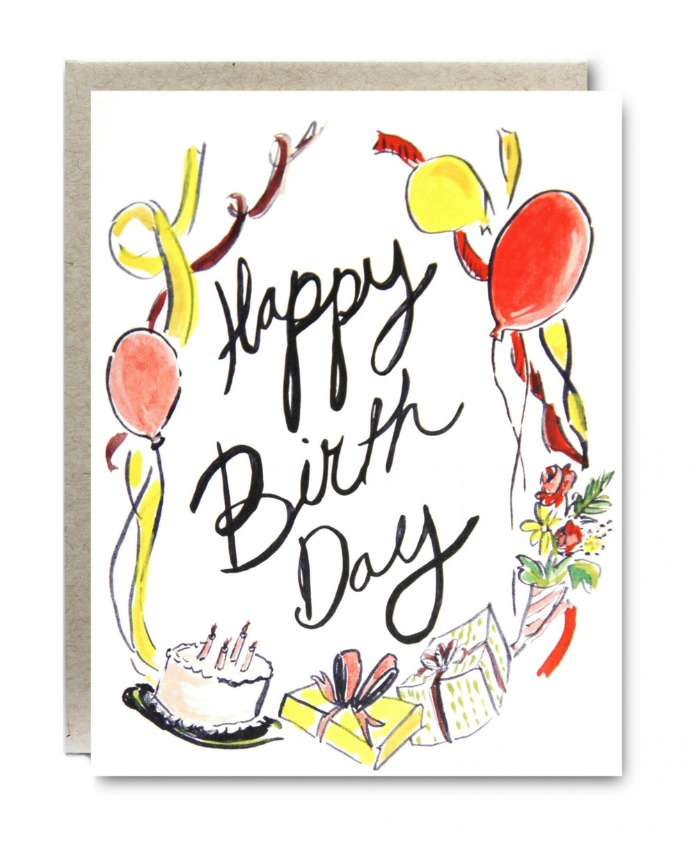 Happy Birthday with Balloons Card - $5.00