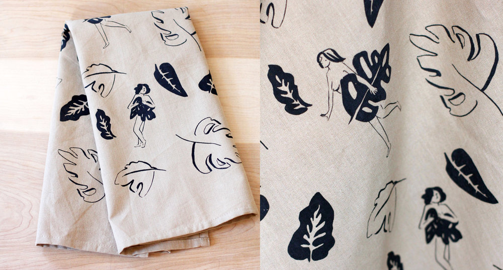 Tea towel ladies and leaves.jpg