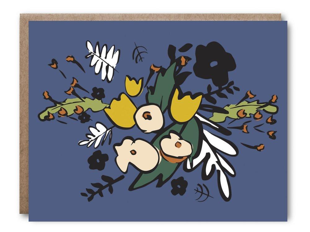 Blue Floral Card - $5.00