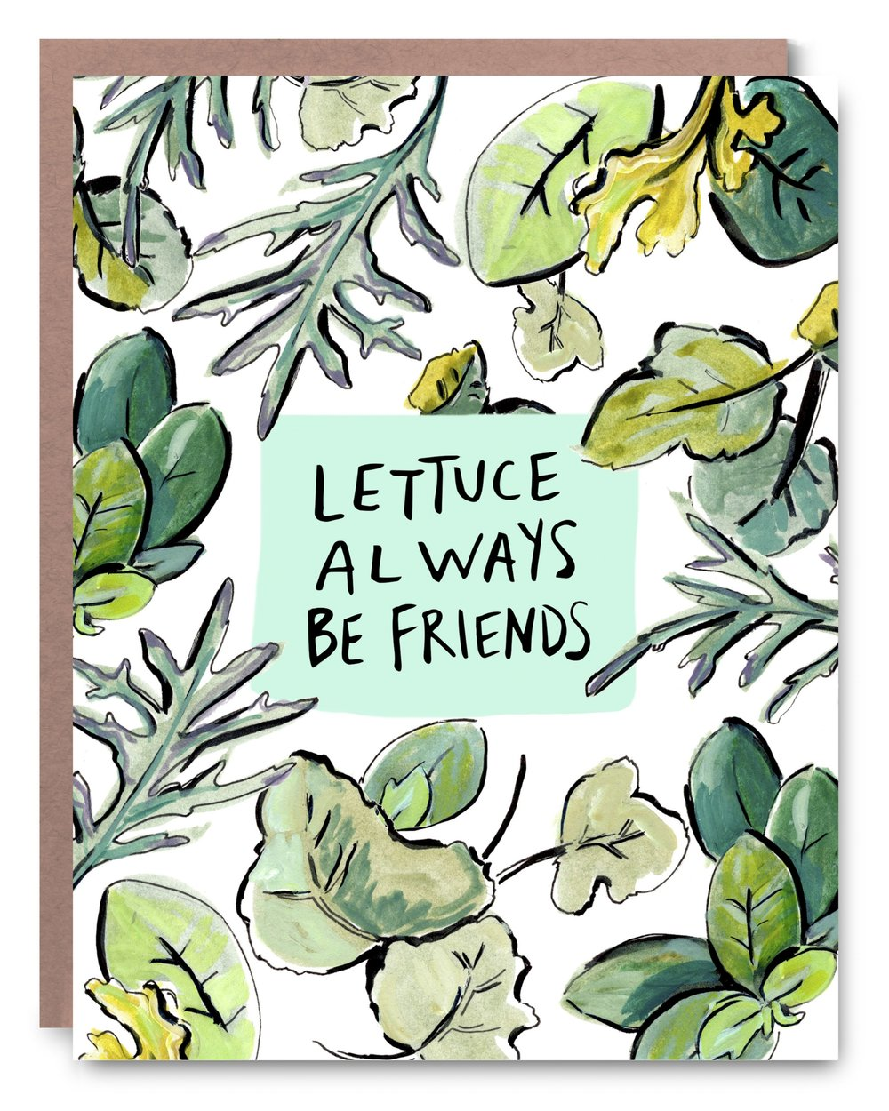 Lettuce Be Friends - Blank inside - 4.25 x 5.5""