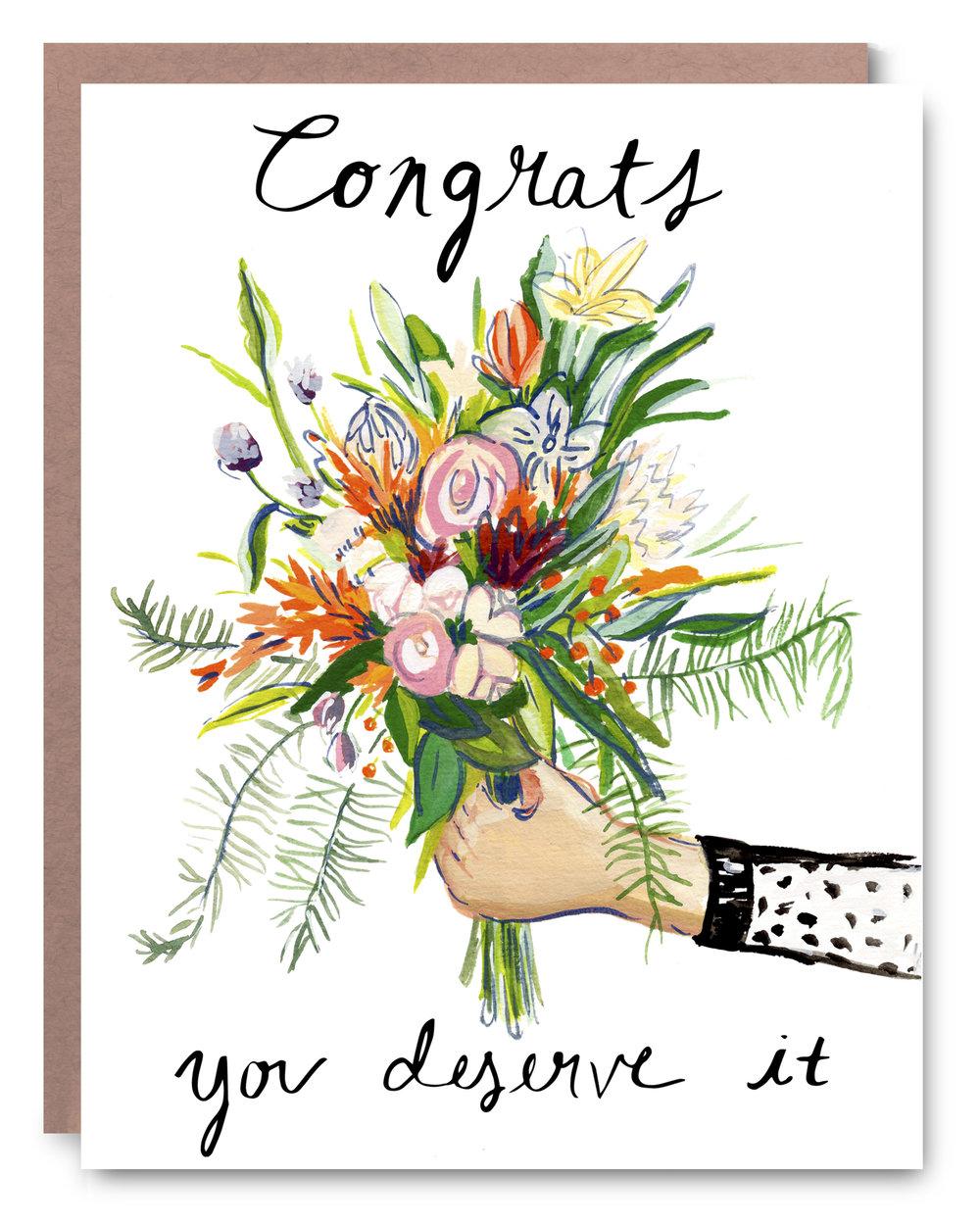 """Bouquet Congrats - Blank inside - 4.25 x 5.5"""""""