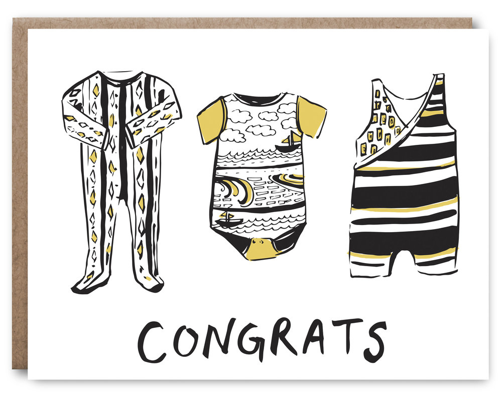 Yellow &Black Cloths Baby - Blank inside - 4.25 x 5.5