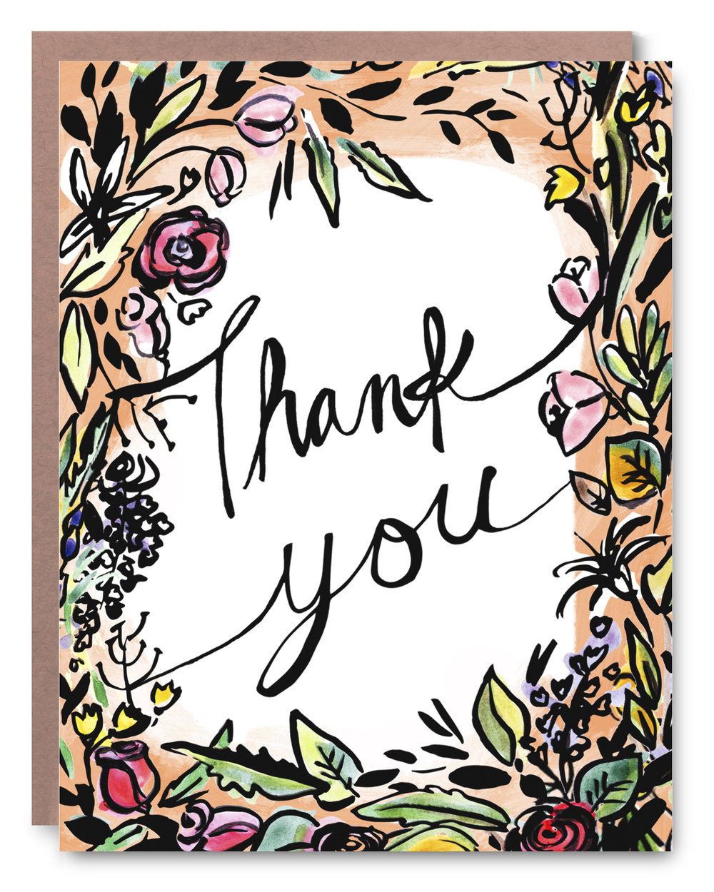 Floral Thank You - Blank inside - 4.25 x 5.5""