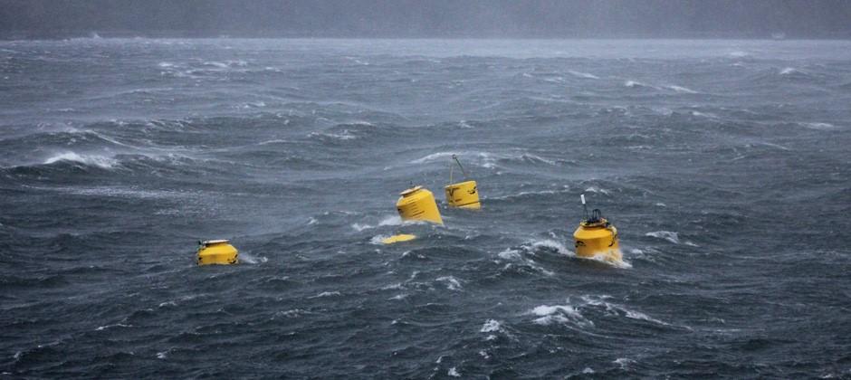 Figure      SEQ Figure \* ARABIC    1       - Albatern Wave Energy Converter being tested at sea