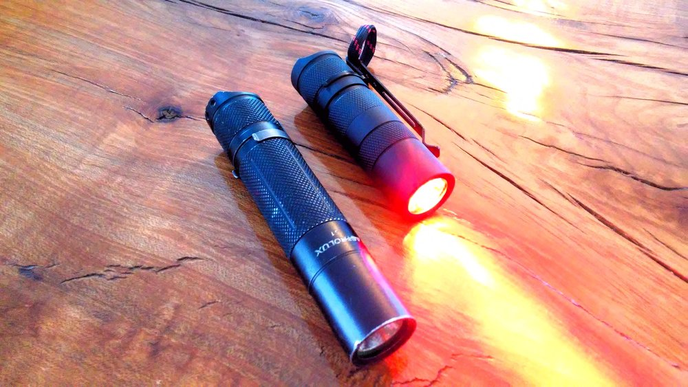Custom Convoy S2 with 18350 battery tube..... containing an 18500. Red triple TIR. A real sleeper, this light is.