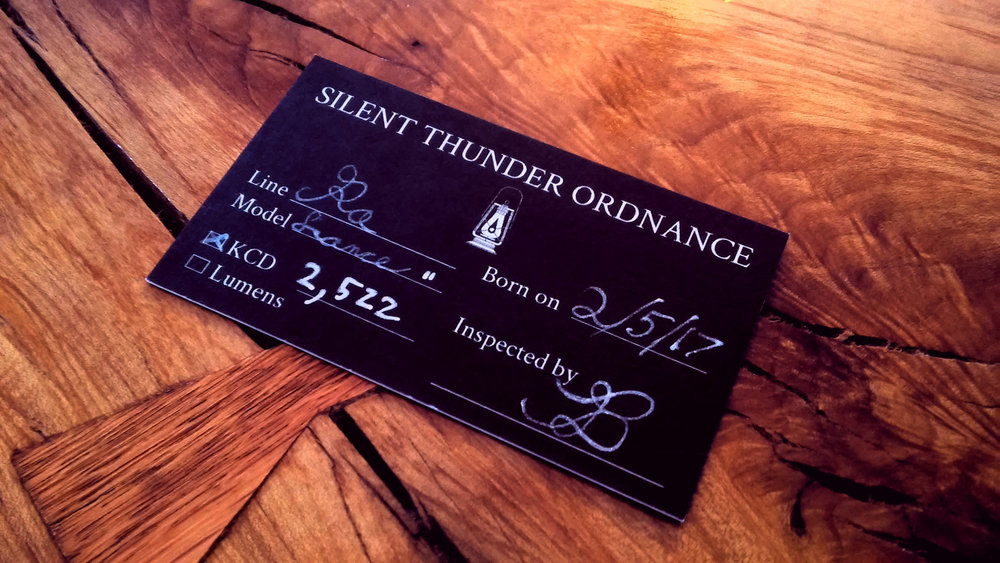 Performance certification card for a Lance of Ra