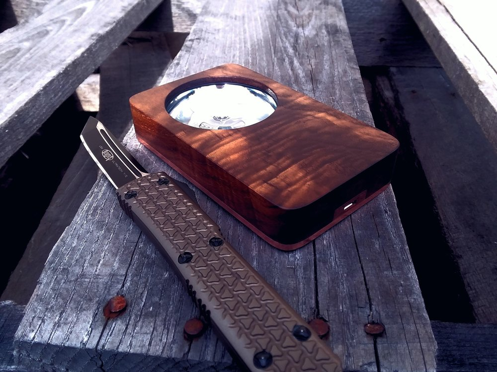 Eye of Sekhmet curly walnut with copper accents and polished copper back, Microtech Tri-Grip Ultratech
