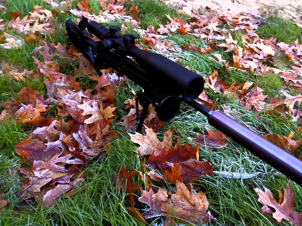 And complete! What a joy this rifle is to shoot. While that can on the end may look large, it is a special design we developed in-house to be flow-through which significantly reduces backpressure keeping both gun (in semi-autos) and suppressor much cleaner, yet unlike OSS designs it doesn't make major concessions in volume. On this gun it is absolutely hollywood quiet, considerably quieter than SCO Octane45 or Omega. It was manufactured on an ATF Form1.