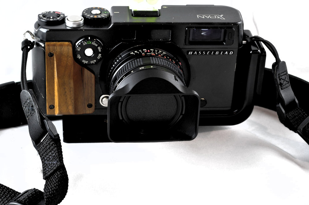 Hasselblad XPan with our reproduction lens shade. Note the original lens cap function remains unaffected.