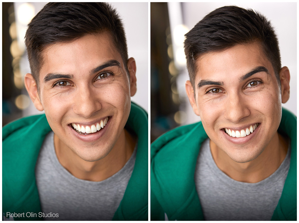 Left: Josten's shot cropped in with more emphasis on the face. Right: Shot pulled out a touch more to see the top of his head.