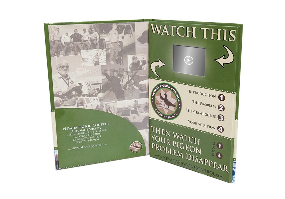 "VIDEO IN PRINT BOOK with A 2.4"" LCD and  5 video presentations. When you open this book, the first video plays automatically and can be programmed to repeat or automatically shut off. Pressing any one of the 4 numbers beneath the LCD initiates playback of each independent video. There's a mini USB port located at the bottom used to add or delete or modify content and doubles as a port for recharging the books built-in lithium battery,"