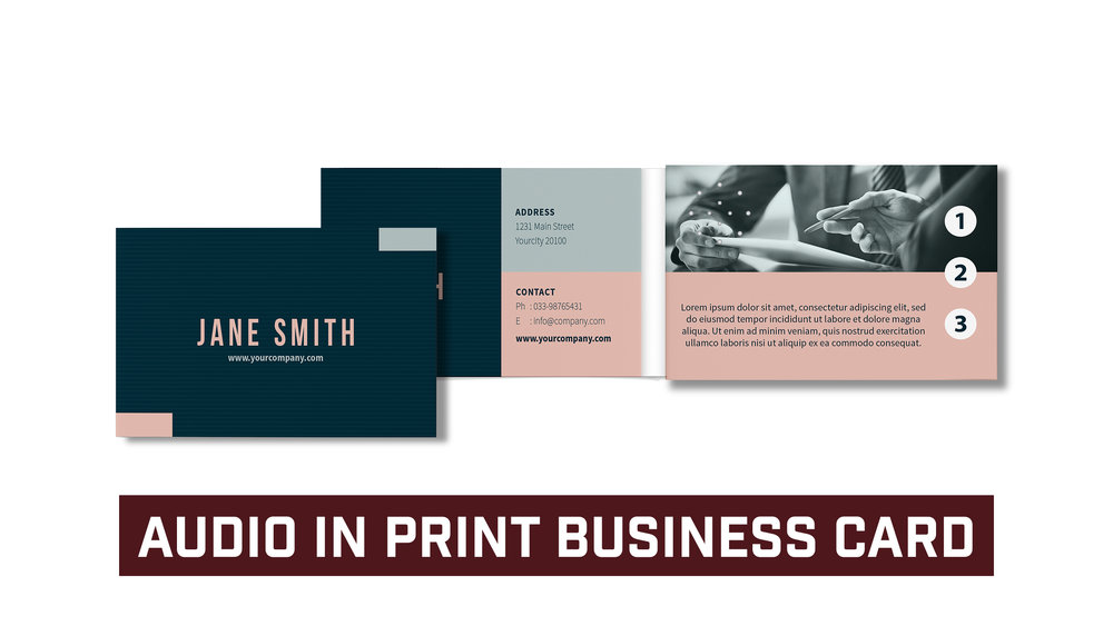 Audio In Print Business Card with Three Audio Programs * Template Included
