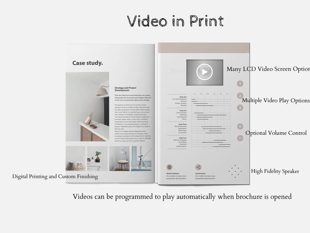 Printflix stock Video-in-Print Products include video brochures, video greeting card, video postcards, video magazine inserts and flyers, video books and video albums. We also design and manufacture custom video point-of-sale displays and video packaging products.