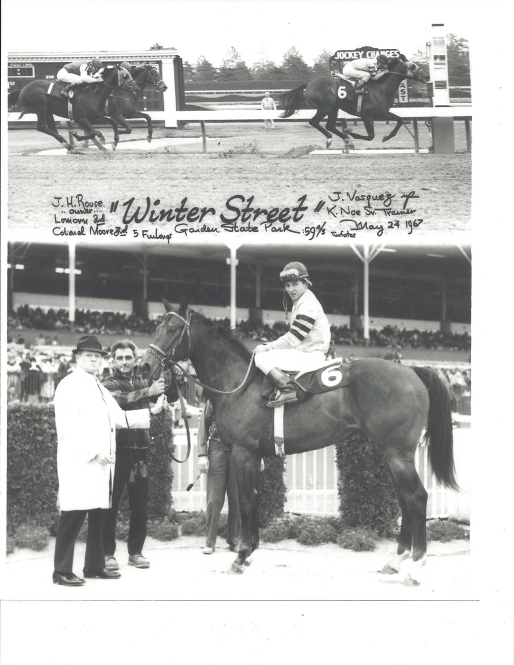 While Howard Rouse did not own any Derby horses, he did have a few winners, including Winter Street, who won a Garden State Park (N.J.) race in 1967. The horse was named after the main road through Midway, U.S. 62, or Winter Street, where he and Honeywood lived. Howard is not in the picture above, because he usually shunned the winner's circle.