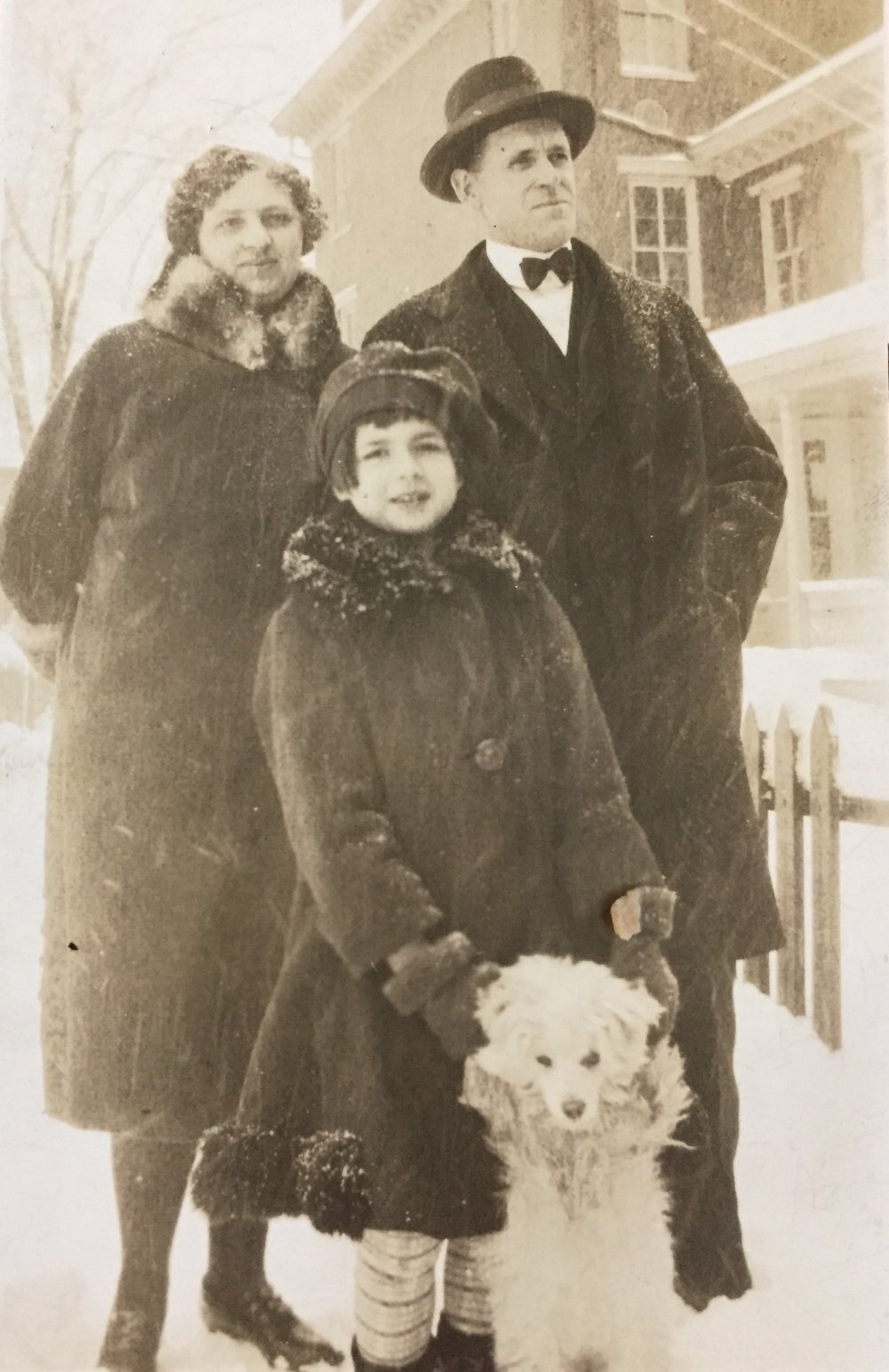 From left, Mabel Davis Lyons, daughter Mabel (Sara Gibbs' mother), and husband Walter Lyons. Because of his tall, dark and handsome good looks, Walter was invited to perform first footing duties.