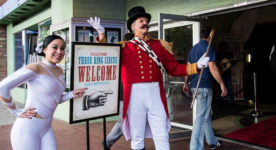 Ringmaster & Acrobat greeting guests.jpg