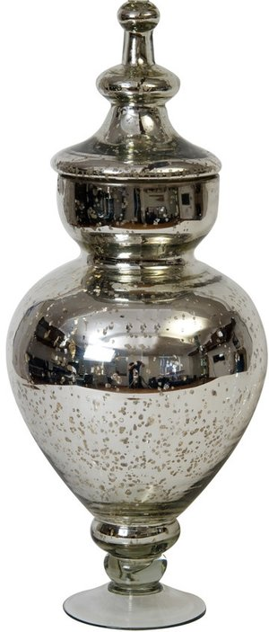 Extra Large Silver Mercury Glass Apothecary Jar With Lid Splendor