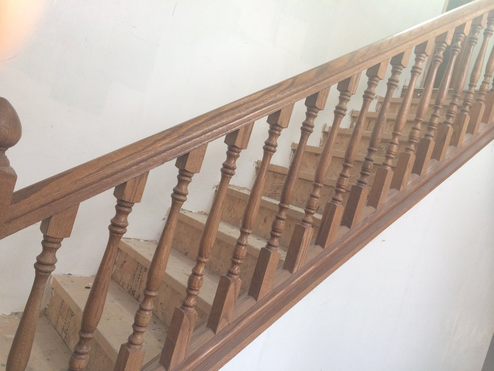 oak staircase before paint