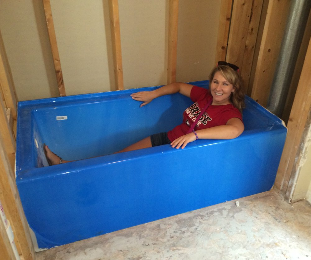 guest bath tub (with protective liner)