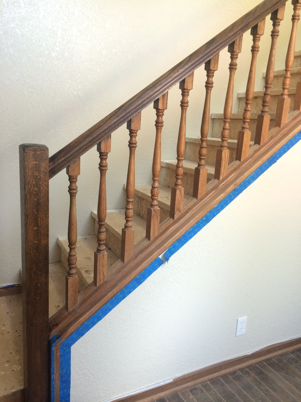 my attempt at staining the staircase...