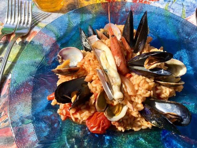 - Lunch...risotto with seafood , so good!
