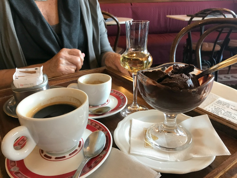 - On to Caffe Poliziano for coffee, dark chocolate gelato and grappa. Hurried home for a nap.