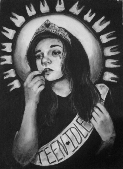 """Self portrait from when I was in community college (2013). I really beat myself up, here giving myself a """"teen idle"""" award."""