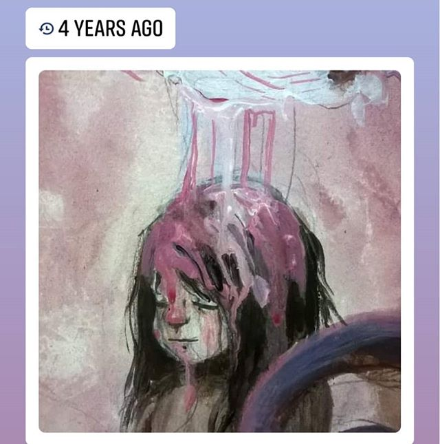 Flashback Monday to this fragment of a painting that never panned out.  #art #artist #illustration #artistofinstgram #illustratorsoninstagram #painting #paint #fineart #acrylic #girl #pink #drawing #draw #sketch #flashback #memories
