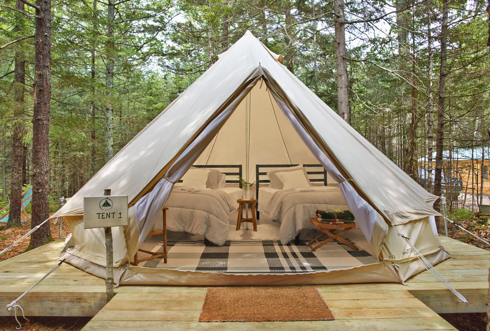 Our ten tastefully appointed canvas c& tents and A-frame lodge cabins accommodate a single person ... & Woodland Retreats \u2014 Tops\u0027l Farm