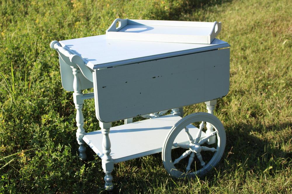 blue tea cart