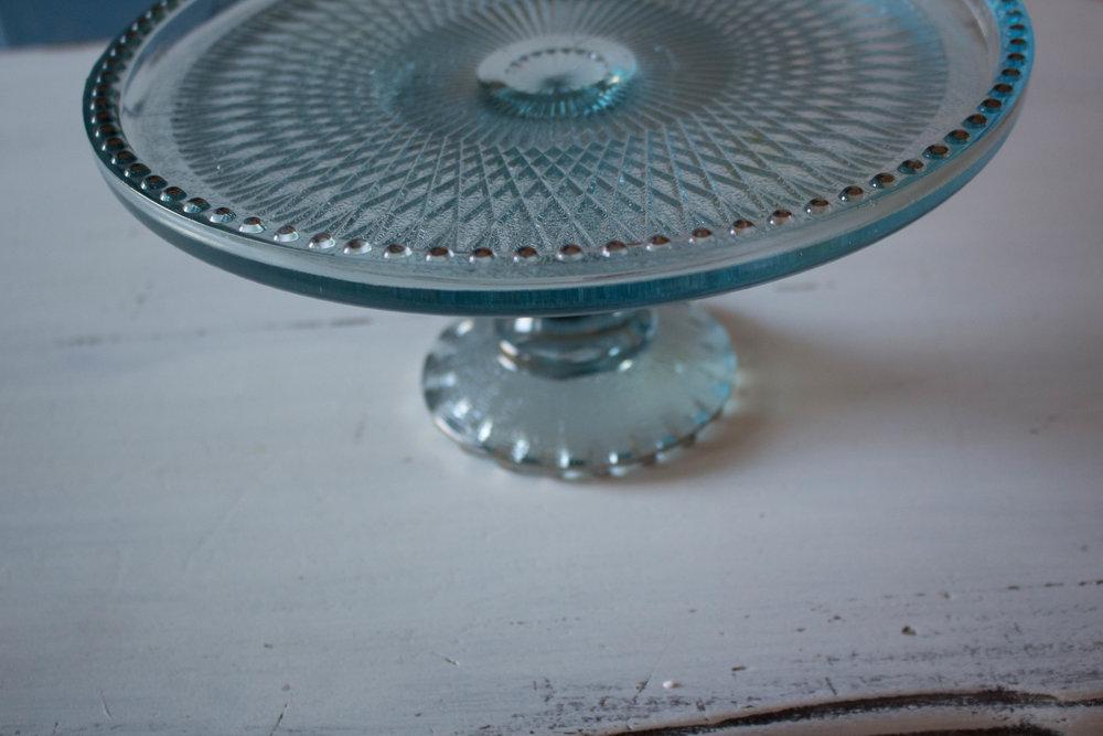 aqua blue glass cake stand