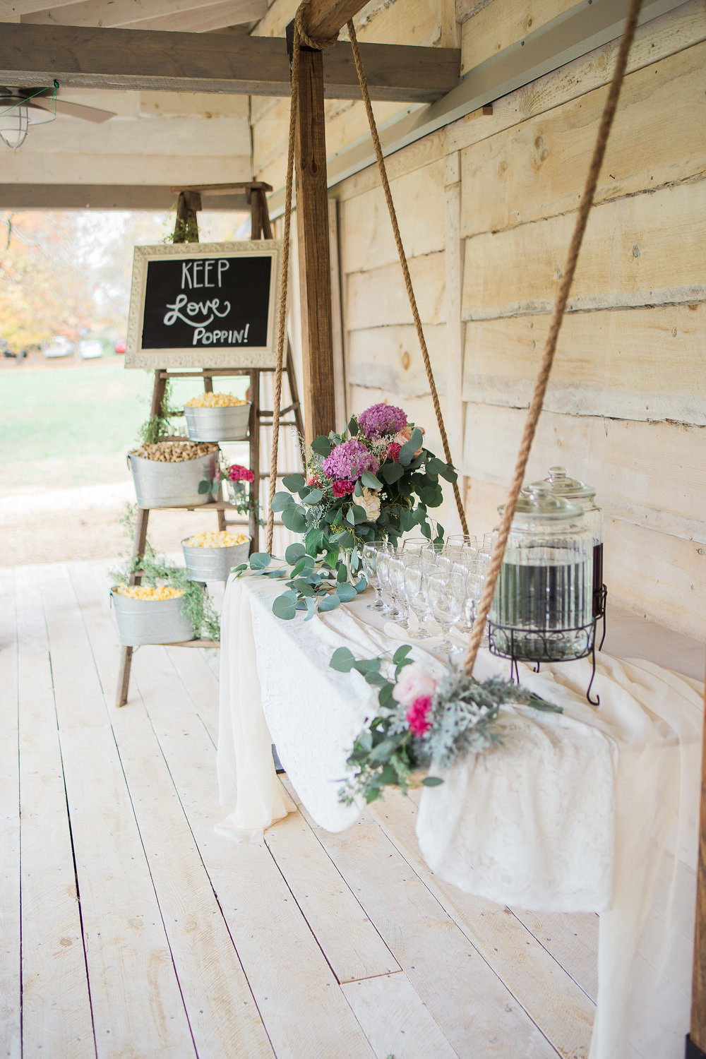 hanging table for drink station, favors, cake, etc