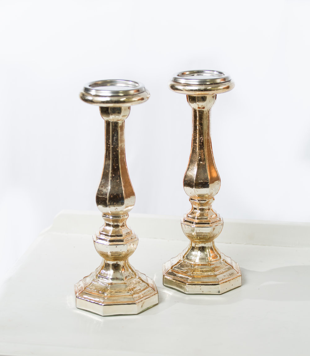 Gold mercury glass pillars  Qty: 2