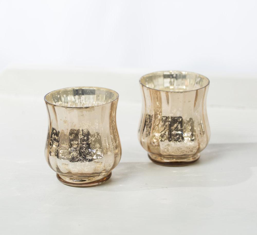 Gold Mercury glass votive  Qty: 2