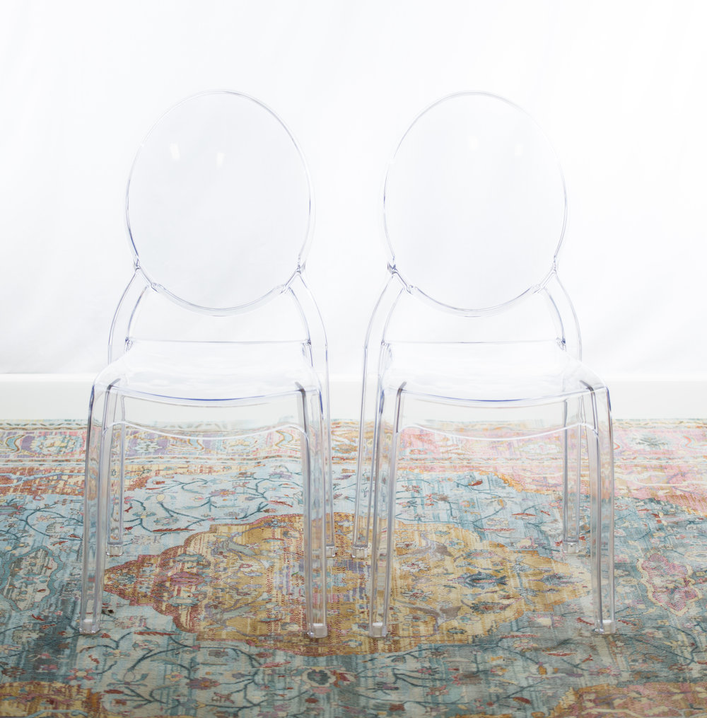 150 clear acrylic ghost chairs