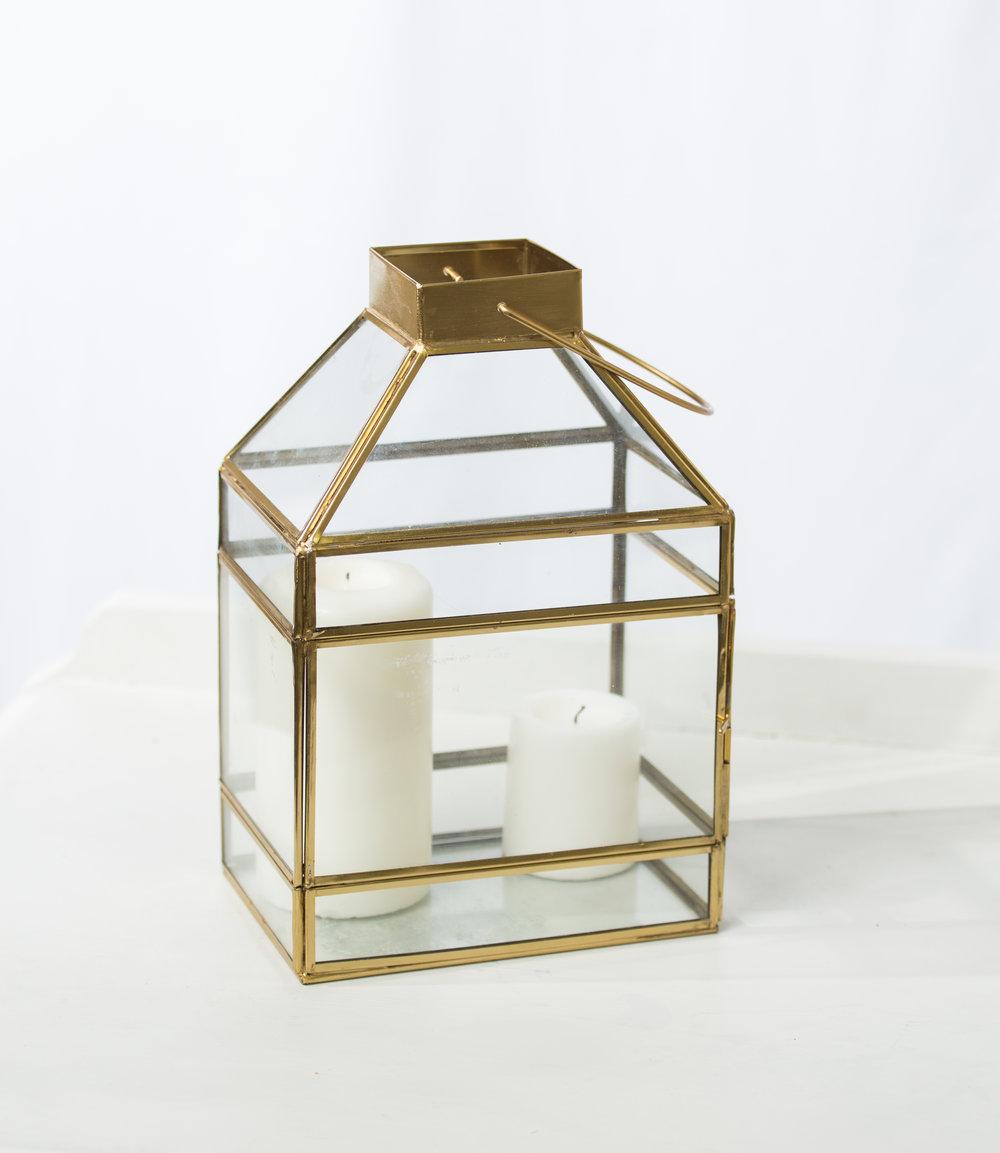 Glass + Gold lanterns  Qty: 2