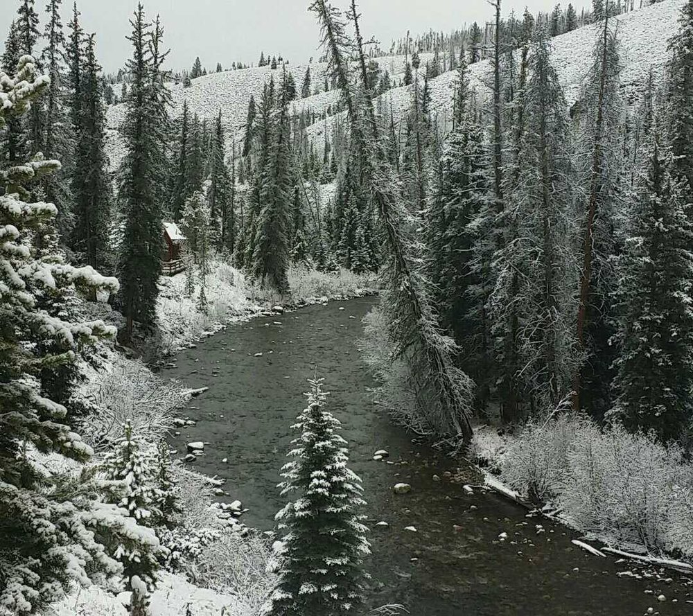 View of the Williams Fork River from the main lodge at Aspen Canyon Ranch.